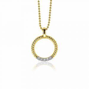 ZINZI zilveren hanger rond kabel geel verguld met zirkonia 17mm ZIH2128Y
