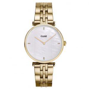 CLUSE CW0101208014 Horloge Triomphe Pearl Goudkleurig Wit 33mm
