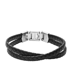 Fossil Zwarte Leren Armband met Meerdere Strengen JF03684040