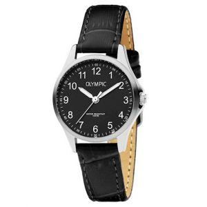 Olympic OL72DSL044 Baltimore Horloge - Leer - Zwart - 29mm
