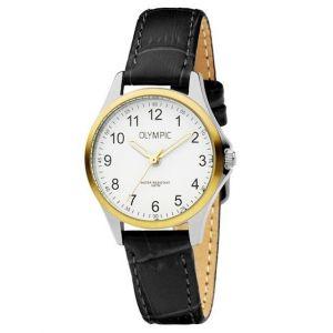 Olympic OL72DSL045B Baltimore Horloge - Leer - Zwart - 29mm
