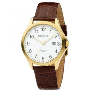 Olympic OL72HDL001 Baltimore Horloge - Leer - Bruin - 40mm