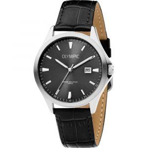 Olympic OL72HSL065 Baltimore Horloge - Leer - Zwart - 40mm