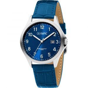 Olympic OL72HSL066 Baltimore Horloge - Leer - Blauw - 40mm