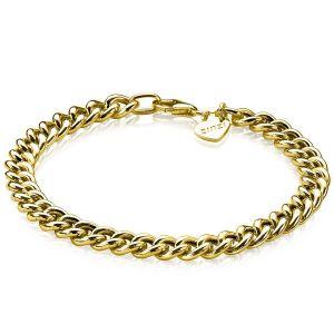ZINZI zilveren gourmet armband geel verguld 6,5mm breed 19cm ZIA1056G