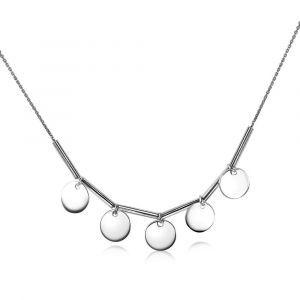 ZINZI zilveren collier 45cm ronde plaatjes ZIC1497