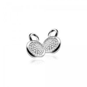 ZINZI zilveren oorbedels wit ZICH1151
