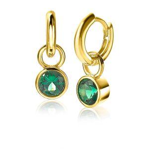 ZINZI zilveren oorbedels geelverguld 7mm rond groen ZICH1486GG