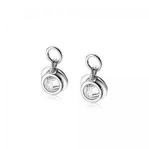ZINZI zilveren oorbedels dubbel rond wit ZICH1620