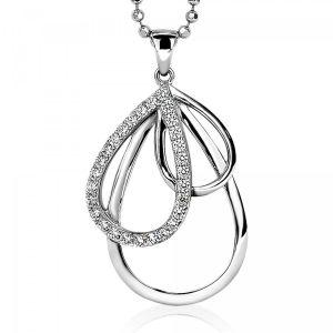ZINZI zilveren hanger peer wit 40mm ZIH1369