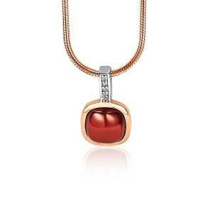 ZINZI zilveren hanger rosé verguld vierkant rood wit ZIH1717