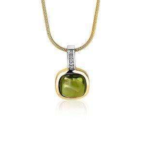 ZINZI zilveren hanger geel verguld vierkant groen wit ZIH1718