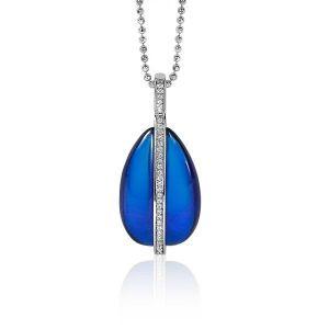 ZINZI zilveren hanger blauw wit 37mm ZIH1760
