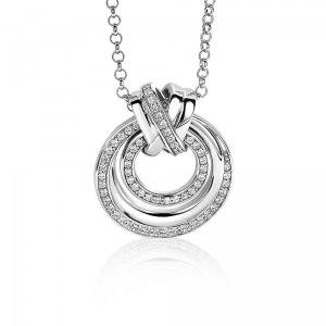 ZINZI zilveren hanger rond kruislings wit 27mm ZIH1791