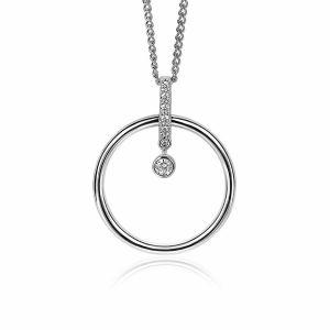 ZINZI zilveren hanger 32mm cirkel en staafje witte zirkonia's ZIH2101