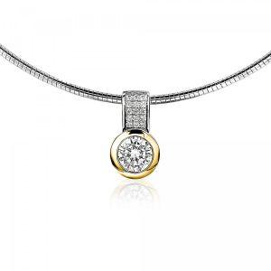 ZINZI zilveren hanger geel verguld wit ZIH213Y