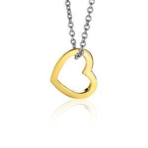 ZINZI zilveren hanger 14K geel verguld 12mm open hart ZIH2197G