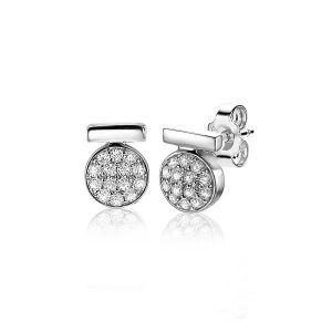 ZINZI zilveren oorstekers ronde vorm 8mm witte zirconia's ZIO1960