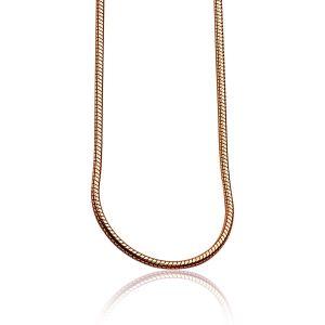 ZINZI zilveren slangen collier rose verguld 1mm breed 45cm ZISL45R