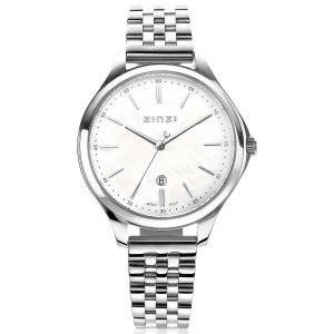 ZINZI Classy horloge 34mm witte parelmoer wijzerplaat stalen kast en band datum ZIW1017 + gratis armband t.w.v. €29,95